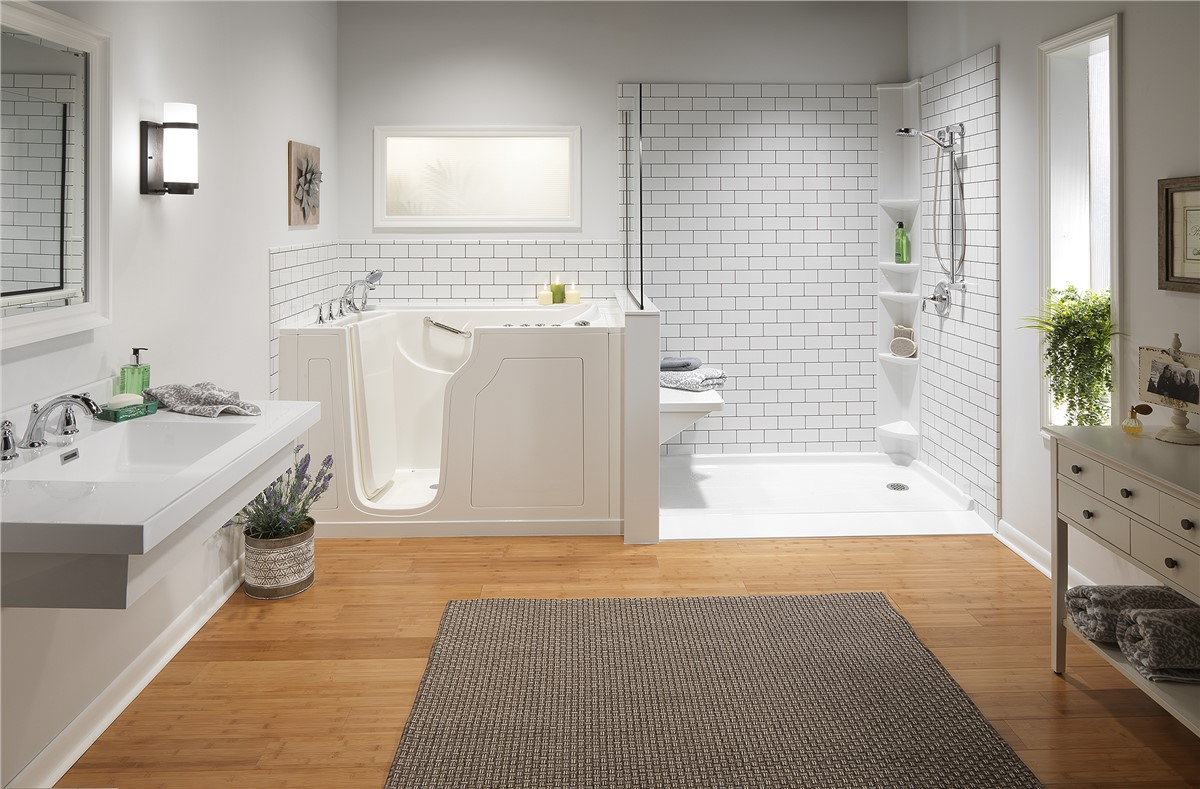 Bathroom remodeler gallery photos bathroom remodel - Small bathroom remodel with tub ...