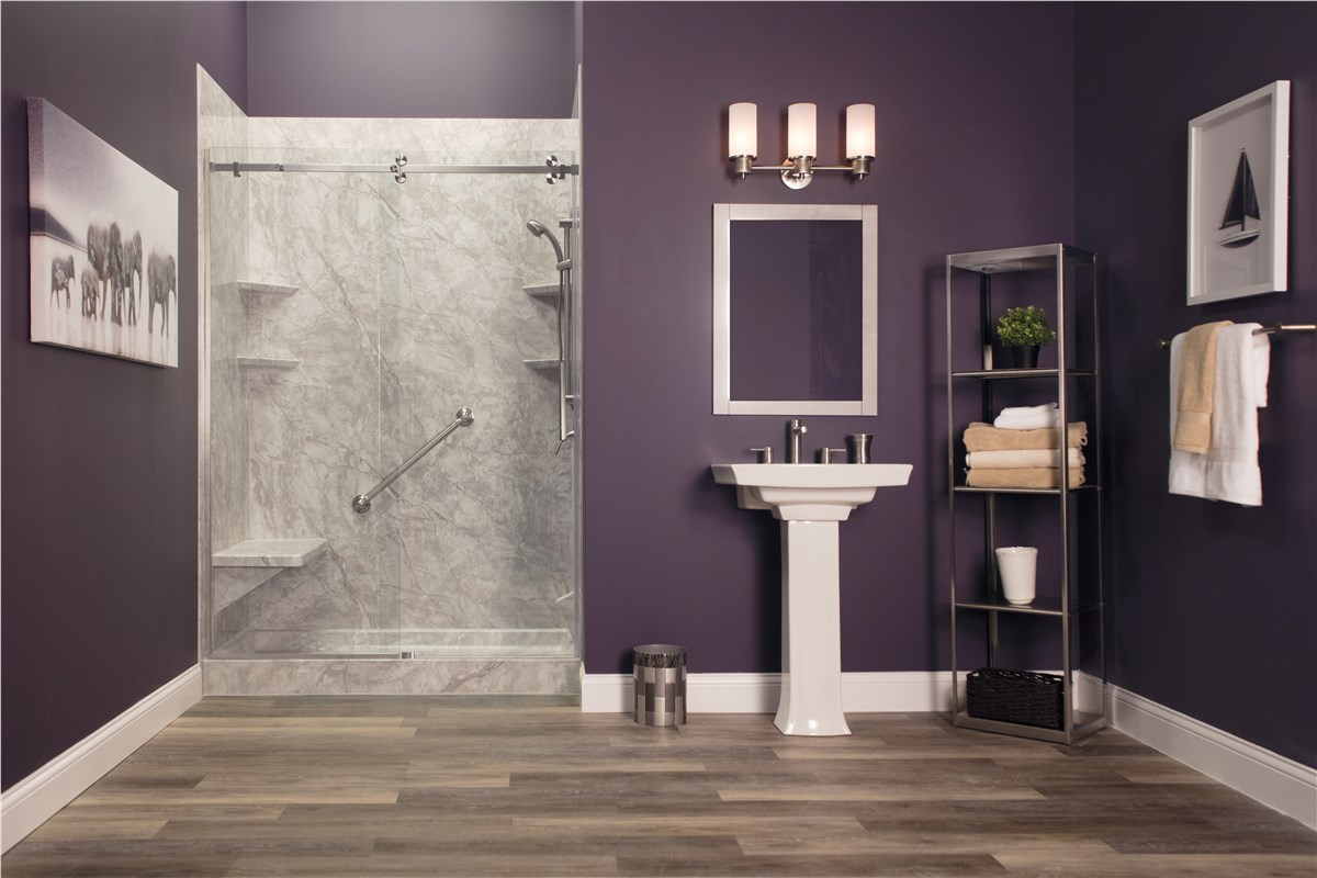 NEW   Pompeii Marble With Cayman Shower Door