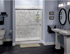 Carrara Marble with S-Curve Shower Door