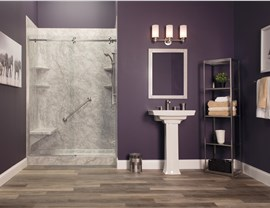 NEW - Pompeii Marble with Cayman Shower Door