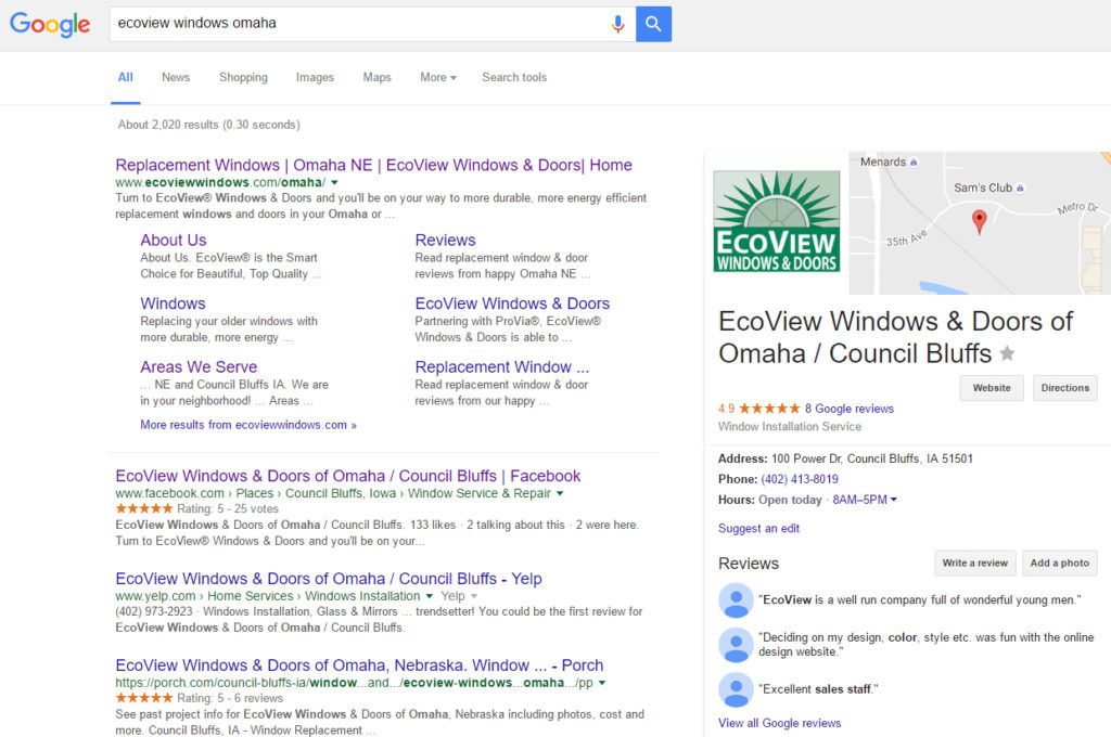 Our partner in Omaha is doing great on Google Local - the start of a great reputation!